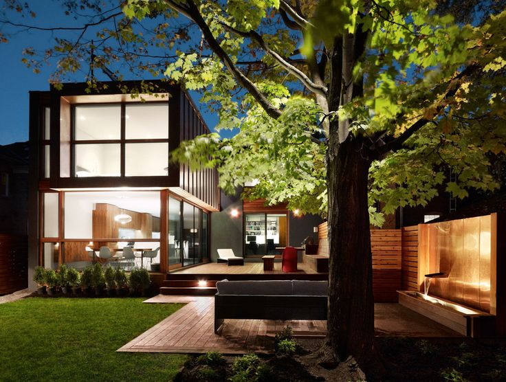 Modern Water Fountain Exterior Contemporary With Backyard Decking Exterior  Facade