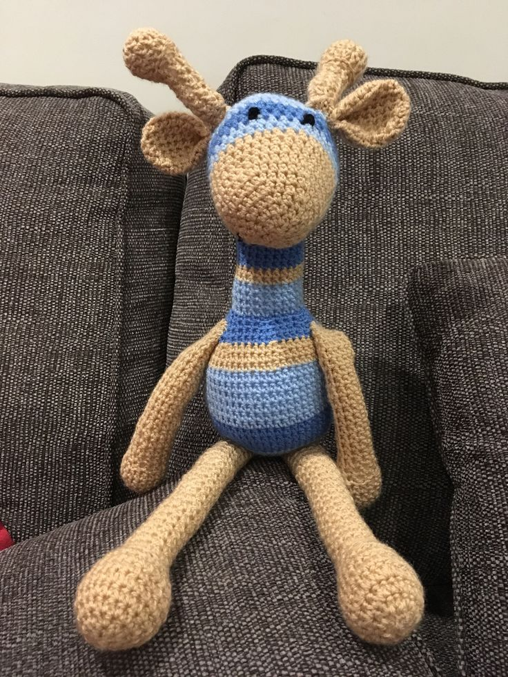 Germaine the giraffe, pattern found on the Internet . Made using Stylecraft dk in aster, cloud blue and stone.