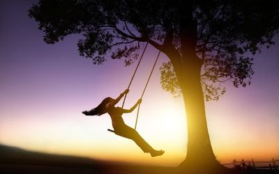 Woman on a swing wallpaper