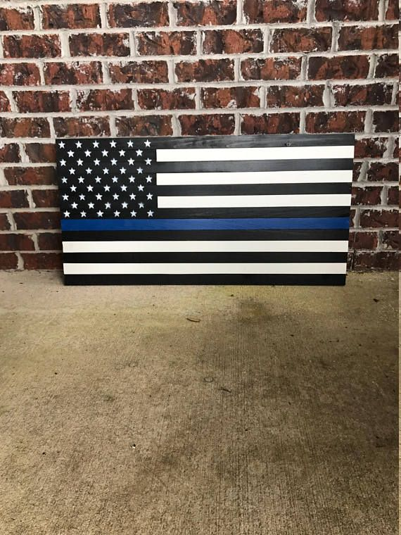 Show Your Support For Law Enforcement With This Wooden American Flag This Piece Will Add Character To Any Ro American Flag Wood Wooden American Flag Wood Flag