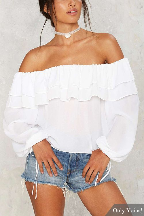 Off Shoulder Double Flounced Long Sleeves Top  - US$15.95 -YOINS