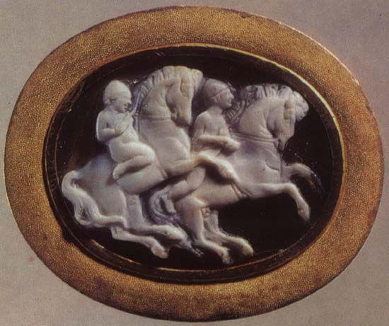 Dioskouroi riding their horses.  Sardonyx. 1st century B.C. — 1st century A.D.  1.8 × 2.6 cm.