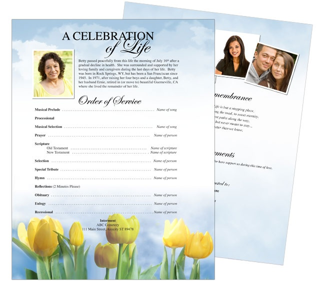 Funeral Brochure Template Memorial Funeral Program Newsletter