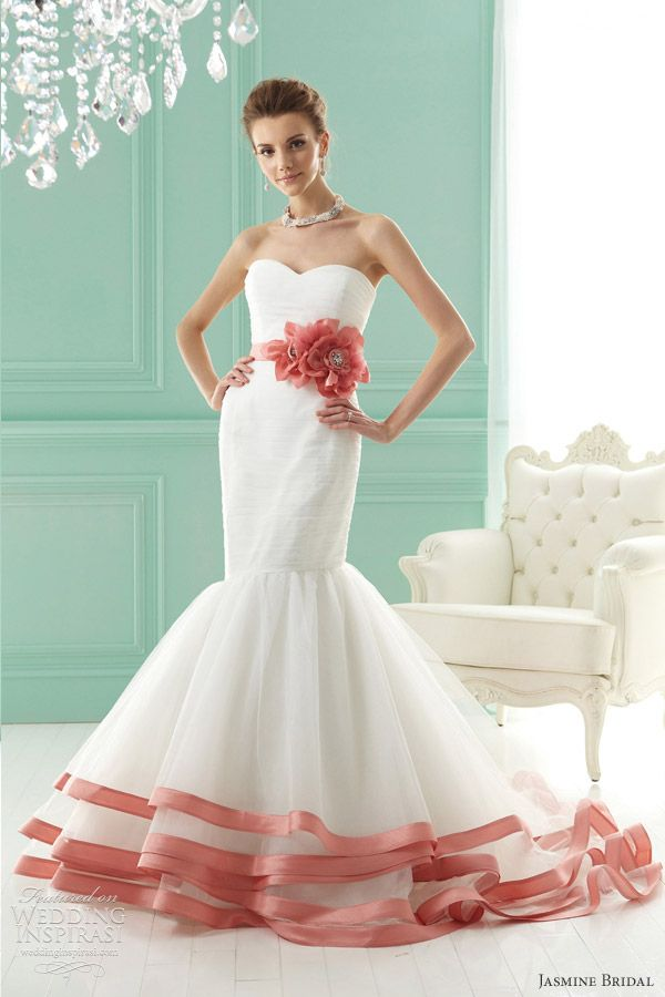 Jasmine Bridal 2012  Tulle and satin back dupioni mermaid gown with colored trim and flower sash. Shown in Ivory-Hydrangea