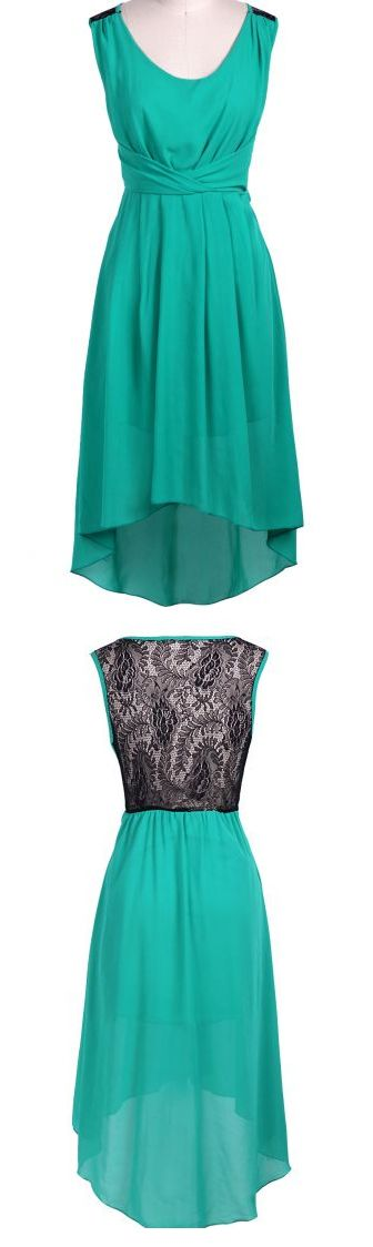 Green Sleeveless Lace Shoulder High Low Dress