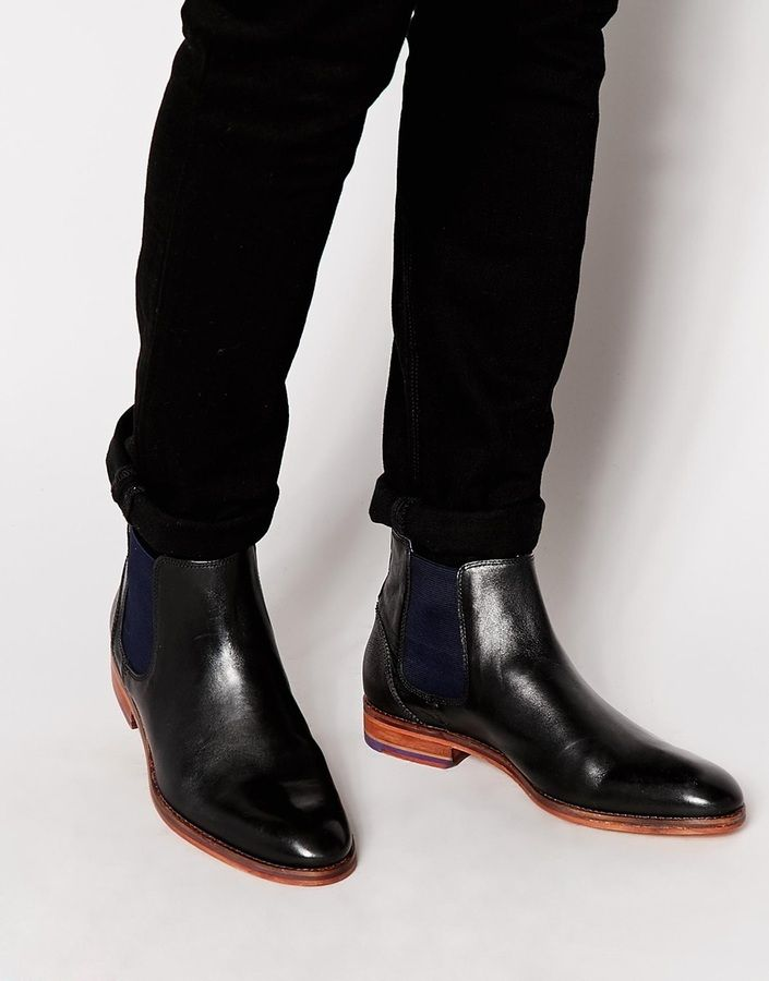 $262, Black Leather Chelsea Boots: Ted Baker Camroon Leather Chelsea Boots. Sold by Asos. Click for more info: https://lookastic.com/men/shop_items/289013/redirect