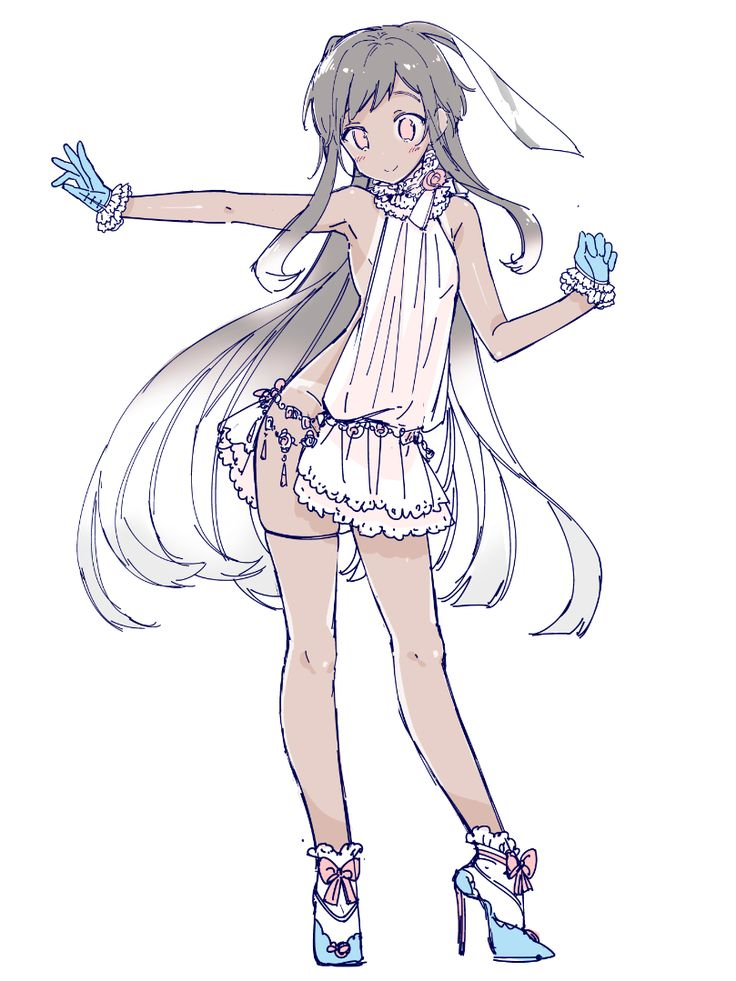 1girl arm_up blue_eyes blue_gloves dark_skin dress full_body gloves high_heels long_hair no_bra no_panties original pink_eyes sakiyo_cake simple_background sleeveless smile solo tan tanline thigh_strap very_long_hair white_background white_dress white_legwear