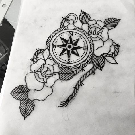 Old school compass rose tattoo