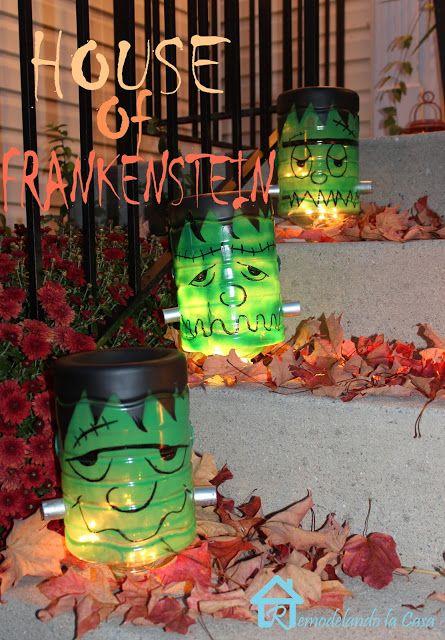 Frankenstein Luminaries - Using Gallon water bottles - #Halloween #repurpose #frankenstein