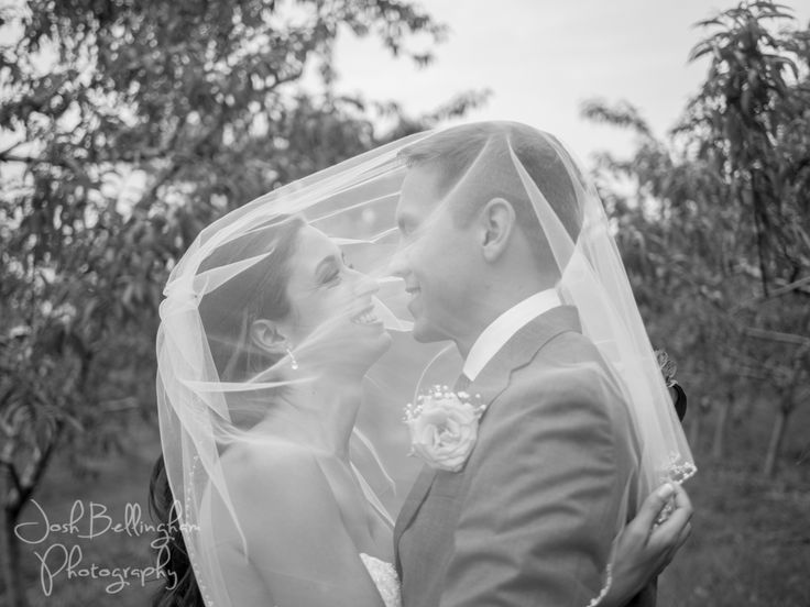 Classic and Timeless Black and White Photograph of the bride and groom. Bride and groom under the veil.  #JoshBellinghamPhotography
