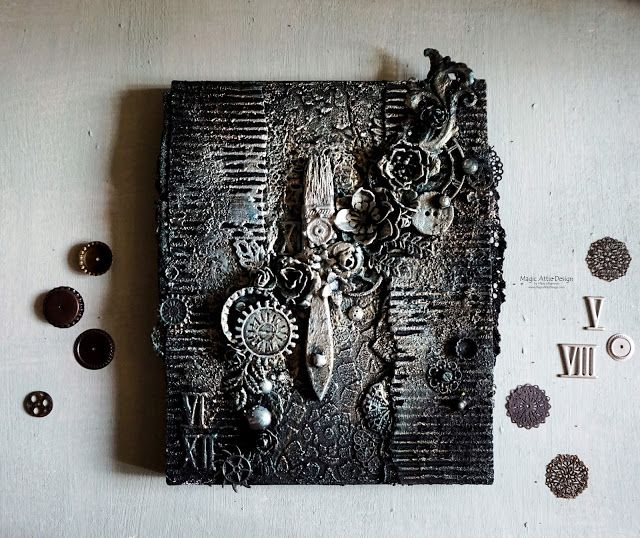 "Canvas ""Artifact"" made during Finnabair's workshop"