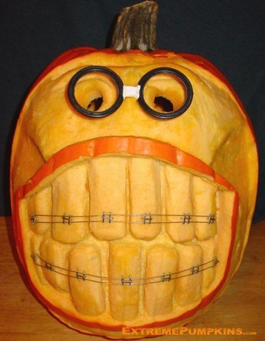 Nerdy pumpkin with braces: Carving Ideas, Pumpkin Ideas, Braces, Inspiration Boards, Pumpkins, Funny, Pumpkin Carvings, Holidays, Halloween Ideas