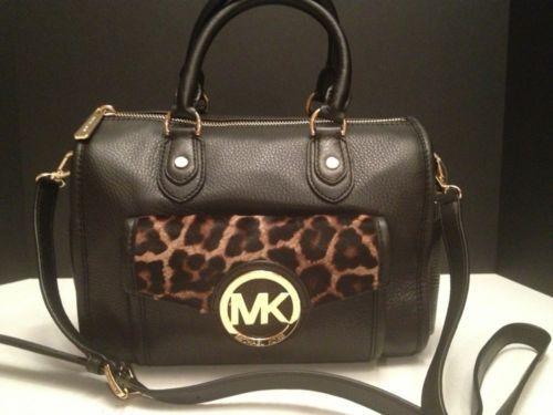 NWT MICHAEL KORS Margo Black Cheetah Medium Satchel Shoulder Handbag Bag $428  I NEEEEEEEEEED this bag in my life.