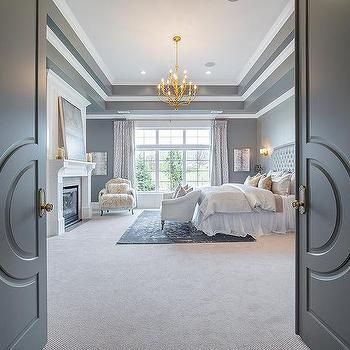 Gray Double Bedroom Doors with Paneling, Transitional, Bedroom