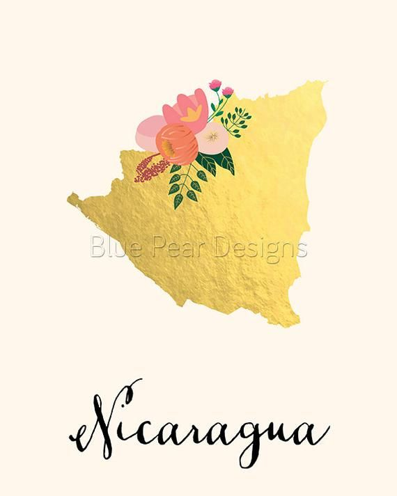 Nicaragua Map Nicaragua Art Nicaragua Poster Nicaragua Print Etsy Dibujos Bandera De Nicaragua Ideas De Colegio