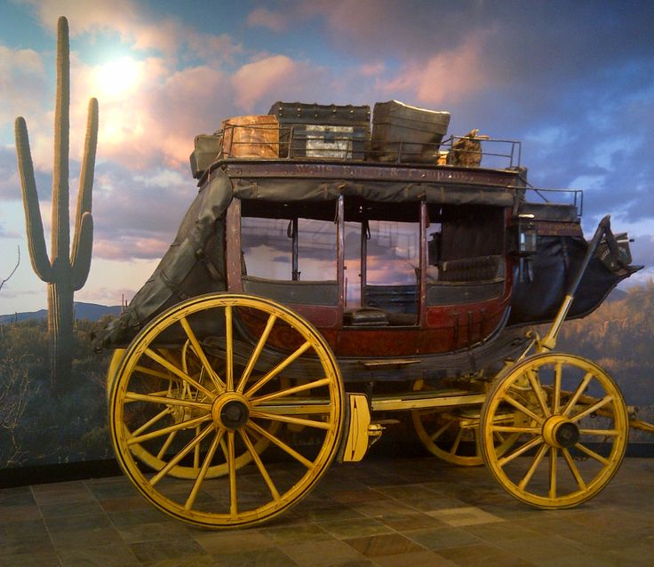"""Ben Holladay"" Concord Stagecoach number 276 on display at the Wells Fargo History Museum in Phoenix, AZ."