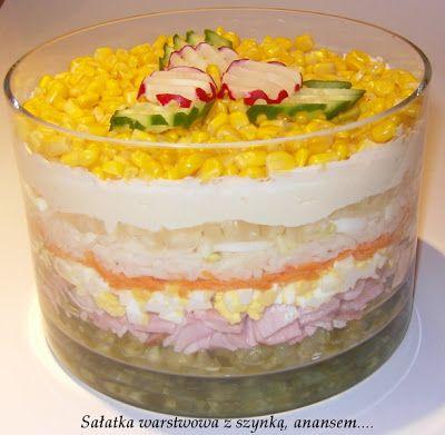 Przepisy Magdy: Sałatka warstwowa z szynką, ananasem...
