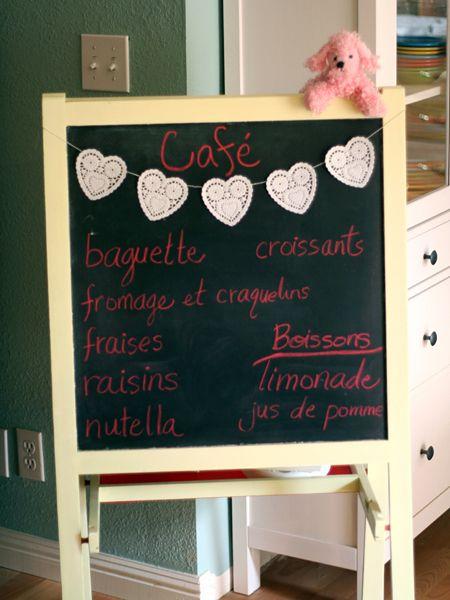 Idea: Turn an easel into a café menu, decorate with doilies