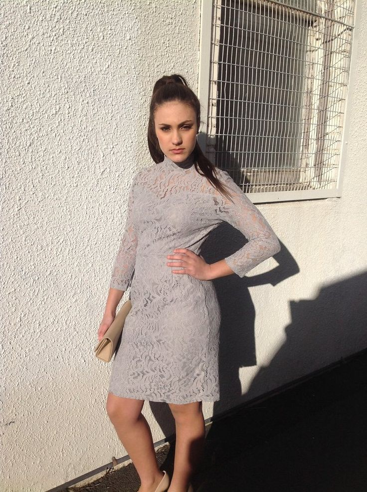 Copy of Rhonda's Collections  Silver Lace Dress With Sleeves