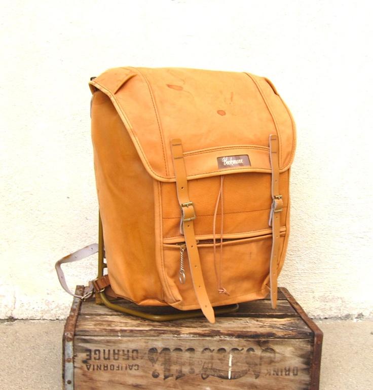 Vintage Beckmann Norway Large Tan Leather Military Style Metal Frame Rucksack Backpack