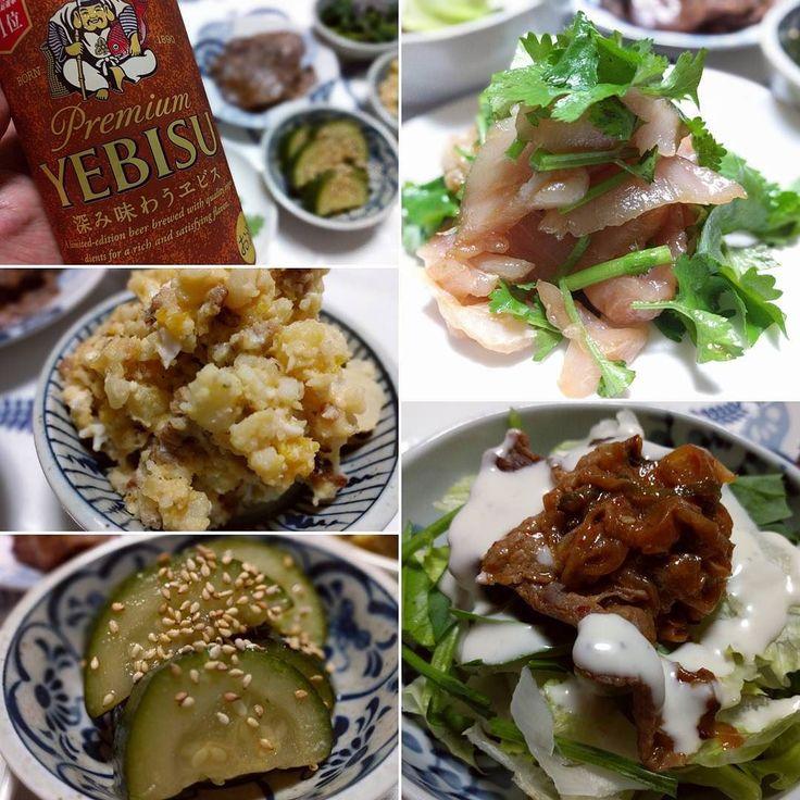 ビントロの中華風刺身とか プルコギのっけサラダとか ( ω )っカンパイ  #ビールクズ #ビール #beer #二度とつくれないポテサラ #レアアルモンデポテサラ #かんぱい #乾杯 #cheers