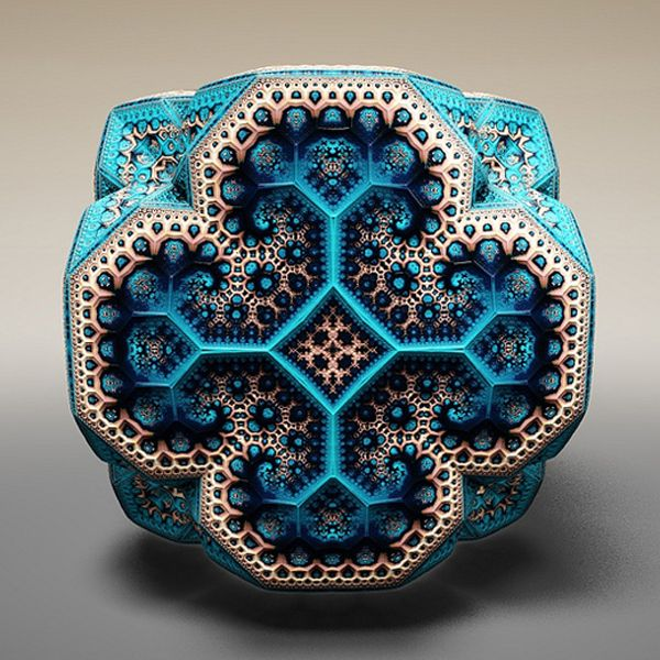 Tom Beddard creates 3D models and derives renderings from them. The artist has this to say: The 3D fractals are generated by iterative formulas whereby the output of one iteration forms the input for the next. The formulas effectively fold, scale, rotate or flip space. They are truly fractal in the fact that more and more detail can be revealed the closer to the surface you travel.