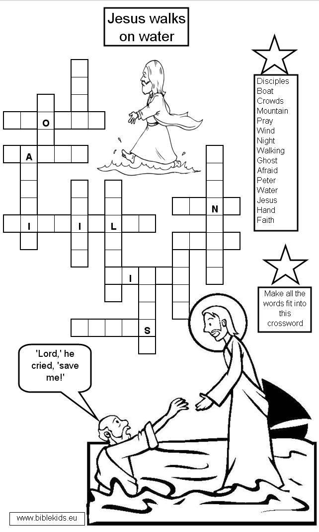 Jesus Walks On Water Worksheets Jesus Walks On Water Crossword