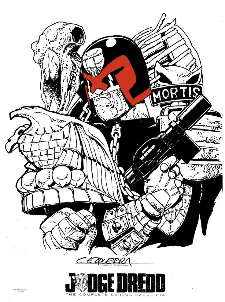 Original artwork from Carlos Ezquerra for the Blue Label edition of Judge Dredd: The Complete Carlos Ezquerra