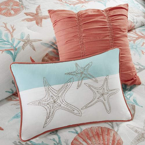 For a beautiful coastal update, infused with our favorite shades of aqua and coral,  the Pebble Beach 7-piece Queen Size Comforter Set will be perfect for your beach bedroom.  Printed on 210 thread co