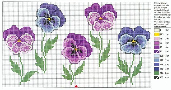 Viole fiori punto croce