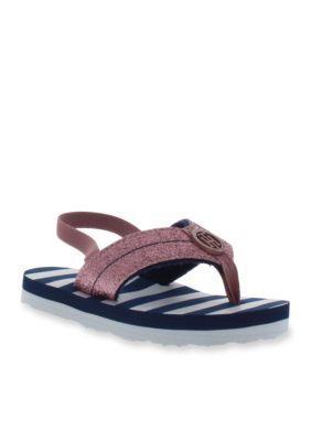 Tommy Hilfiger Girls' Glitter Flip Flop Sandal - Girl Toddler Sizes - Pink - 10M Toddler