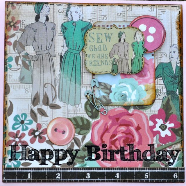 A Birthday card made using the Needle and Thread collection from Kaisercraft.  By Kelly-ann Oosterbeek.