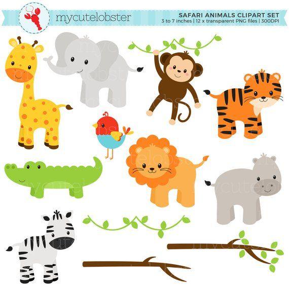 Safari Animals Clipart Set Clip Art Set Of Giraffe Tiger Etsy In 2021 Animal Clipart Safari Animals Clip Art