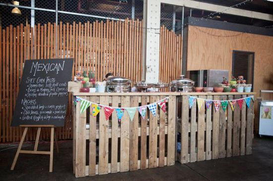 Katy and Ty's Urban Industrial Style Wedding - Bar made from pallets