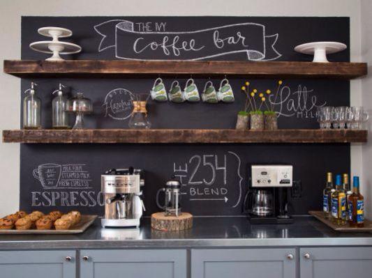Home Coffee Bar with Chalkboard backdrop