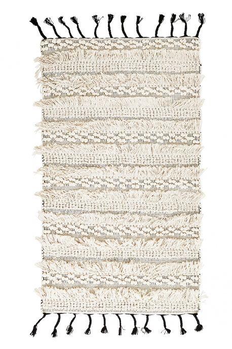 Tapis en coton avec pompons & franges BALI 70x120cm