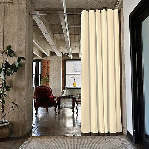 RoomDividersNow Small Tension Rod Room Divider Kit A with 8-Foot Curtain Panel in Pearl White