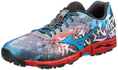 Mizuno Men's Wave Hayate Trail Running Shoe,Black/Dude Blue/Chinese Red,10.5 M US. Size: 10.5 D(M) US. U4ic lightweight midsole. SmoothRide fluid motion design. 9mm heel-to-toe drop. Aggressive X-Studded outsole pattern. Dynamotion Fit technology. Adaptable Midfoot X groove. Heel-cradling Concave Wave.