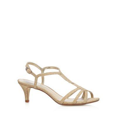 Debut Gold glitter mid sandals- at Debenhams.com