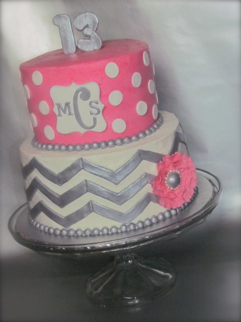 Chevron Polka Dot Monogram cake - I made this for my daughter.  Chevron is some tricky stuff.  Flower is gumpaste with a fondant ball center, outlined with pink pearl dragees.  I had a different set of numbers for the 13, the 3 ended up breaking on me while putting onto the cake (I think I was too impatient and added the silver glaze too soon before it was completely dry...oops).