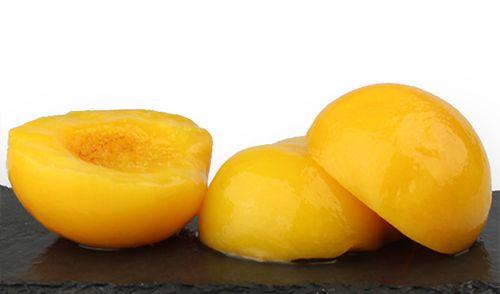 """Melocotón de Calanda. De color amarillo ligeramente pálido, se presenta en tarros en almíbar –mezcla de agua y azúcar y calentados al baño maría-. Carnosos en boca, jugosos al ser muy permeables al """"jarabe"""". En nariz son aromáticos y dulces típicos del jugo. Buen diurético. http://www.porprincipio.com/conservas-vegetales/18-melocoton-calanda-almibar.html#"""