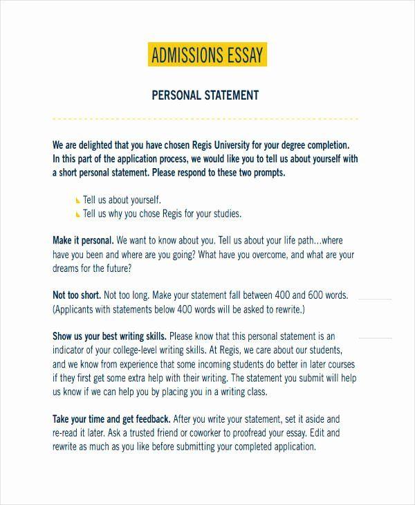 Regis admissions essay