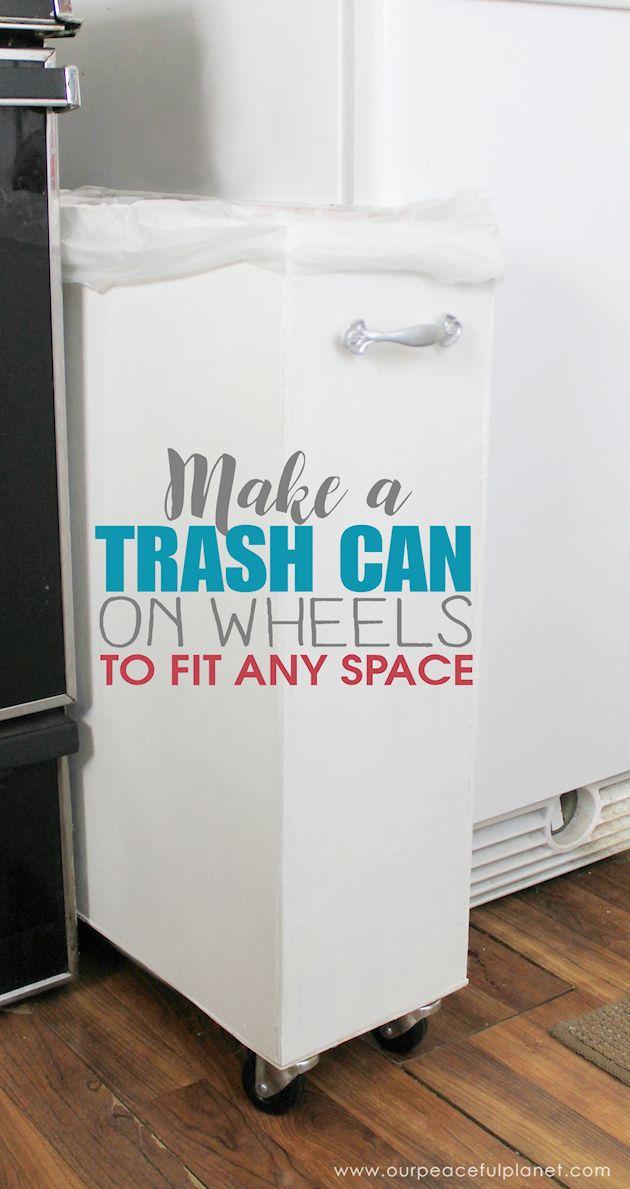 Can't find a large enough kitchen trash can to fit a space? You can make one on wheels to fit any spot! All you need are a few simple supplies and tools