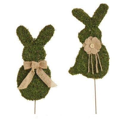"""RAZ Flat Moss Bunny Stick Set of 2  2 assorted styles Set includes one of each Made of Plastic Measures 8"""" X 4"""" on 7.5"""" Stick Single Sided  Bunny shape covered in moss, jute tie. RAZ Rustic"""
