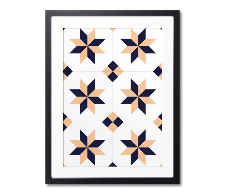 Star Print, Framed Prints, Ceramic Tile Art, Graphic Wall Art, Geometric Print, Wall Decoration, Modernist Decor, Ready To Hang by Macrografiks on Etsy