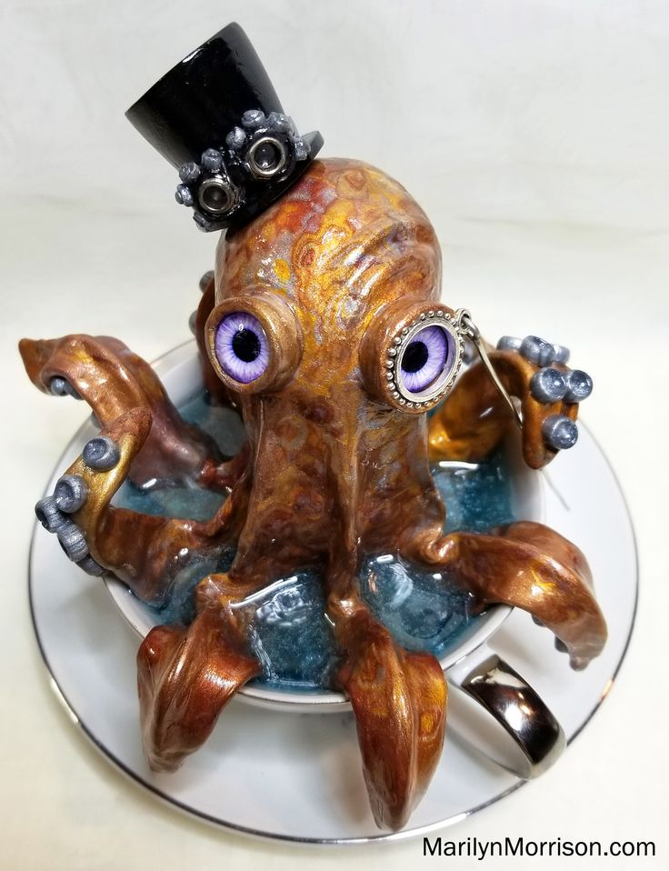Steampunk octopus in teacup