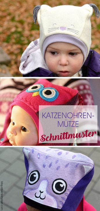 Schnittmuster Katzenohrenmütze: Schalmütze mit Ohren | Babies, Kids ...