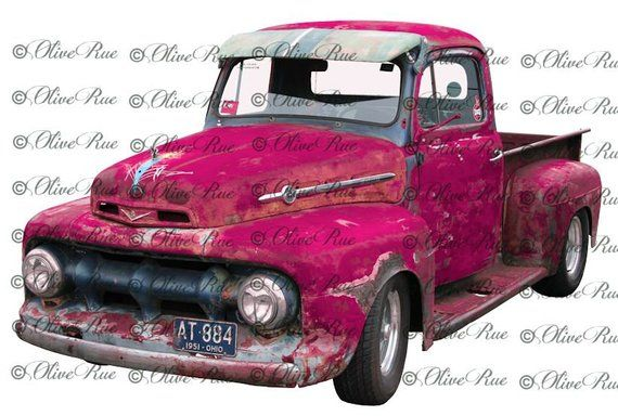 Digital Download Old Fushia Truck Junkin Png Graphic Etsy Red Truck Decor Digital Download Red Truck