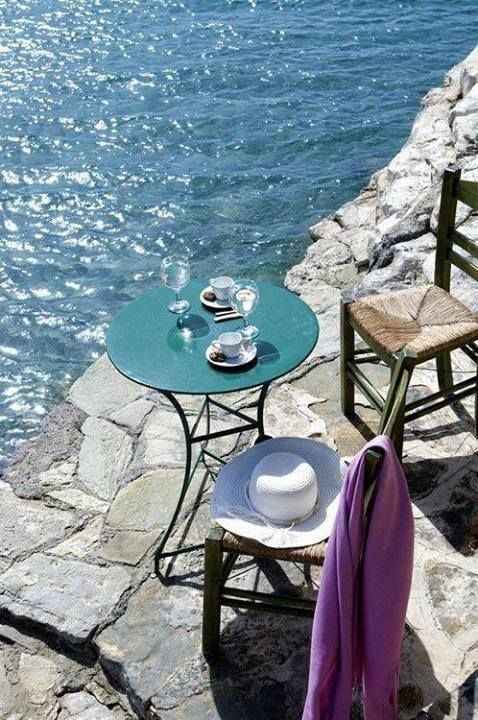 Enjoying the sun, the sea and a Greek coffee. Sounds like a perfect way to start the day