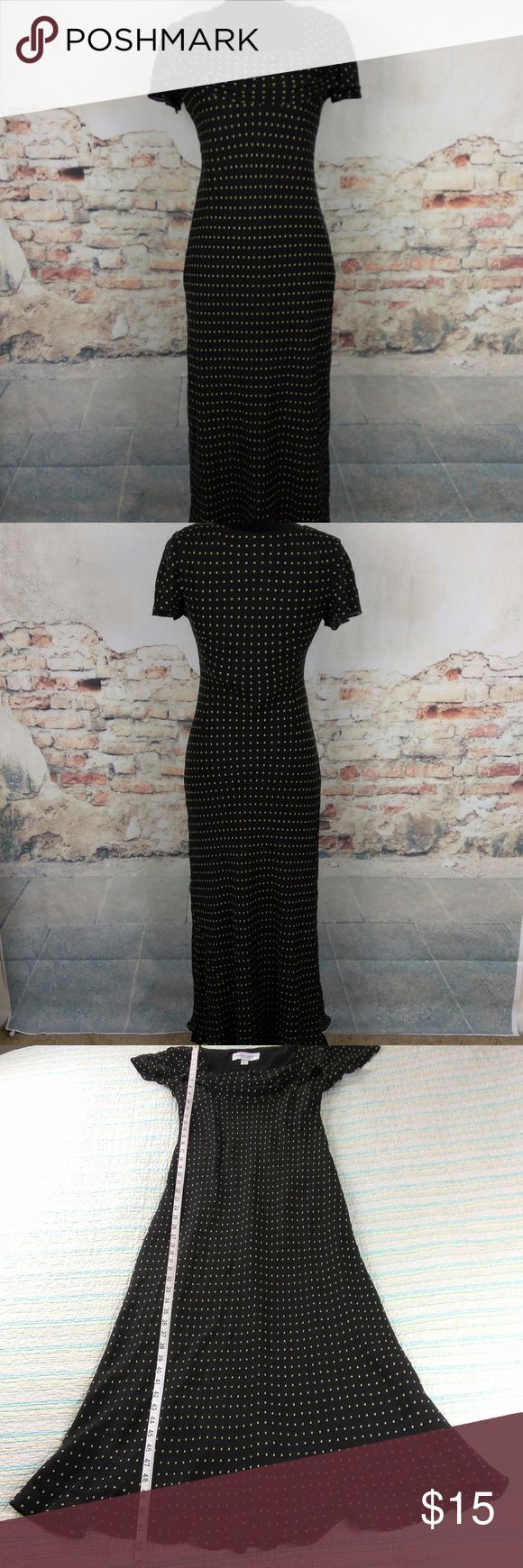 Donna Ricco New York 6 Black Tan Polka Dot Dress Donna Ricco New York Wms Sz 6 Black Tan Polka Dot 100% Silk Midi Flutter Dress Donna Ricco Dresses Midi